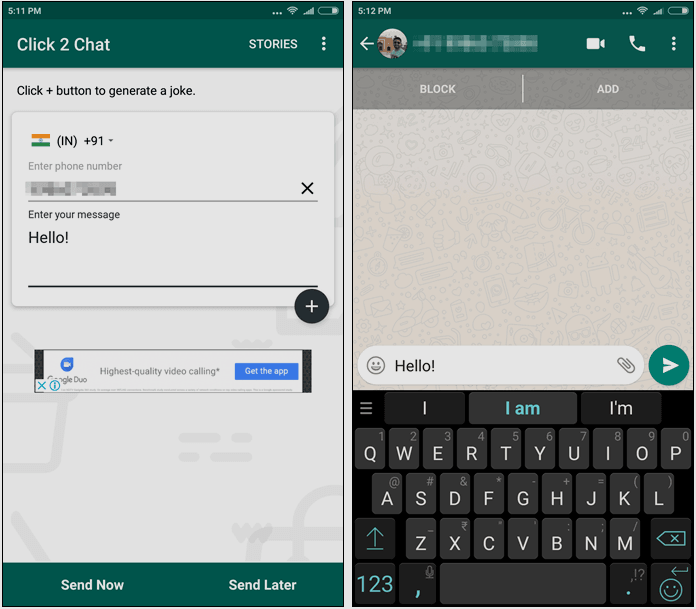 How to send whatsapp message without adding contact in android