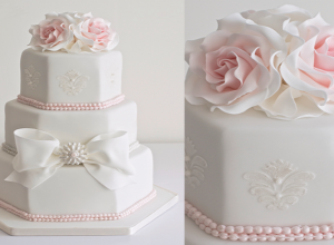 Elegant Hexagonal Wedding Cakes