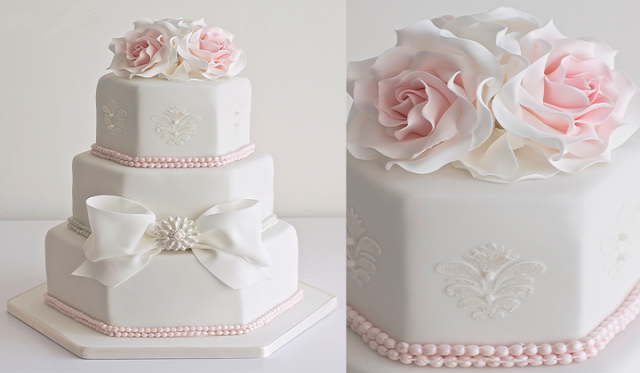 Elegant Hexagonal Wedding Cakes